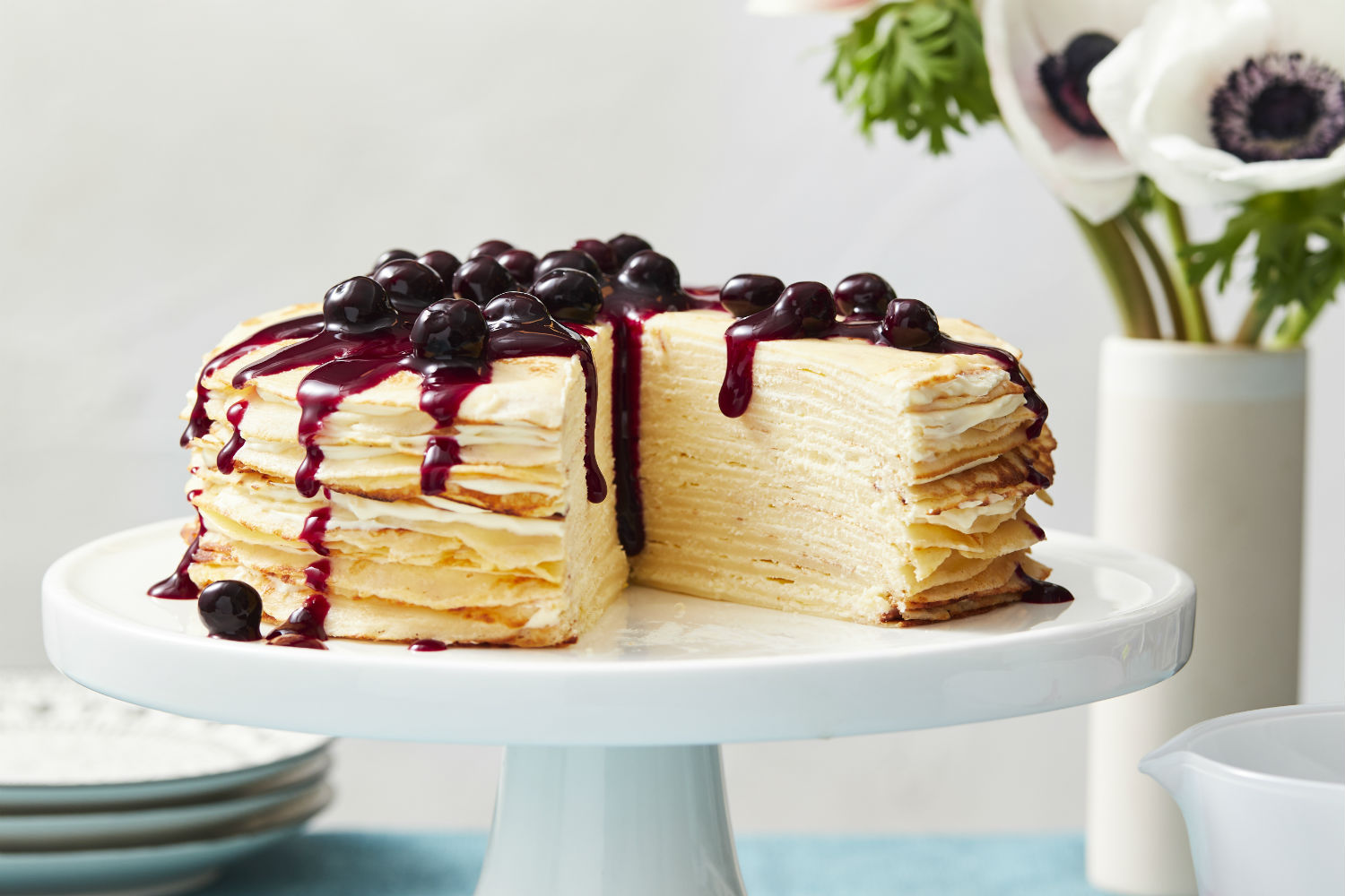 Layered Crepe Cake Recipes: Best Ever Layered Crepe Cake With Blueberry Sauce Recipe